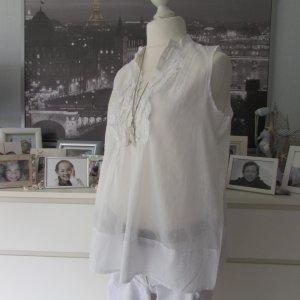 Zara * Süßes Blusen Top + Kette Shabby * weiß Volants Stickerei * XL=42/44