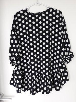 Zara Basic Vestido peplum blanco-negro Poliéster