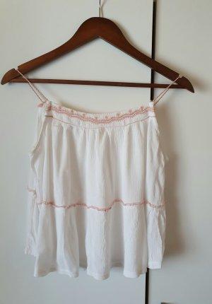 Zara Haut à fines bretelles blanc-or rose