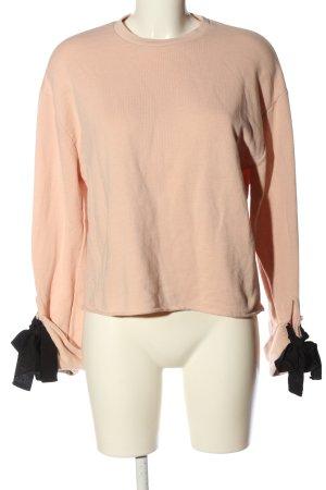 Zara Sweatshirt nude-schwarz Casual-Look