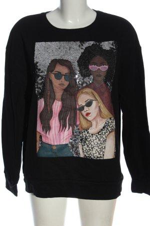Zara Sweatshirt schwarz Motivdruck Casual-Look