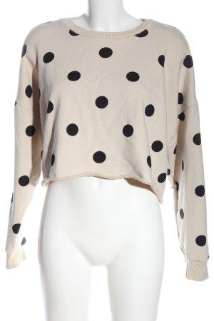 Zara Sweatshirt wollweiß-schwarz Punktemuster Casual-Look