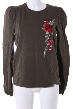 Zara Sweatshirt braun-rot Blumenmuster Casual-Look