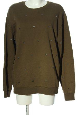 Zara Sweatshirt braun-silberfarben Allover-Druck Casual-Look