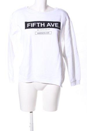 Zara Sweatshirt weiß-schwarz Schriftzug gedruckt Casual-Look