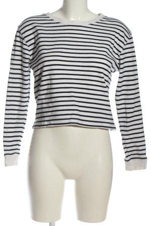 Zara Sweatshirt weiß-schwarz Streifenmuster Casual-Look