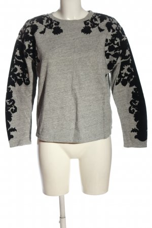 Zara Sweatshirt hellgrau-schwarz Blumenmuster Casual-Look