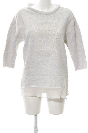 Zara Sweatshirt hellgrau-wollweiß meliert Casual-Look