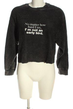 Zara Sweatshirt schwarz-weiß Schriftzug gedruckt Casual-Look
