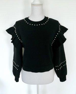 ❤️ ZARA Sweatshirt Gr. S Schwarz Perlen Volants ❤️