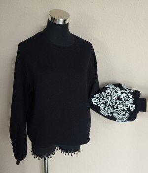 Zara Sweatshirt mit Ballonärmeln Gr.S weiß bestickt Neu mit Etikett
