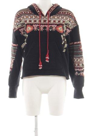 Zara Sweatshirt schwarz-hellrot florales Muster Casual-Look