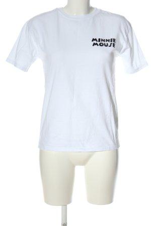 Zara T-Shirt weiß-schwarz Motivdruck Casual-Look
