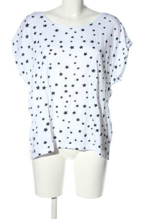 Zara T-Shirt weiß-schwarz Allover-Druck Casual-Look