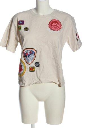 Zara T-Shirt wollweiß-rot Motivdruck Casual-Look