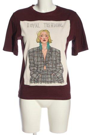 Zara T-Shirt rot Motivdruck Casual-Look