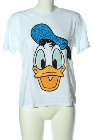 Zara T-Shirt blau-hellorange Motivdruck Casual-Look