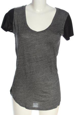 Zara T-Shirt hellgrau-schwarz meliert Casual-Look