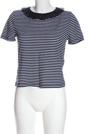 Zara T-Shirt schwarz-weiß Streifenmuster Casual-Look