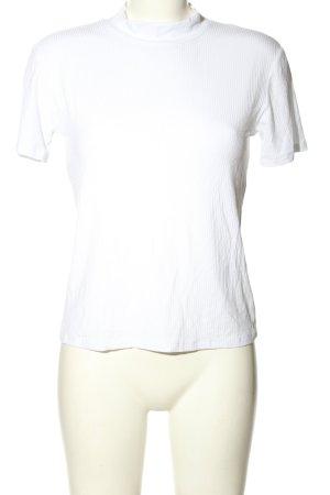 Zara T-Shirt weiß Streifenmuster Casual-Look