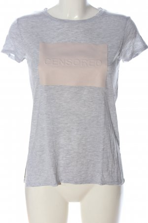Zara T-Shirt hellgrau-creme Schriftzug gedruckt Casual-Look