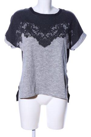 Zara T-Shirt hellgrau-schwarz Blumenmuster Casual-Look