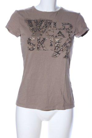 Zara T-Shirt braun-schwarz Schriftzug gedruckt Casual-Look