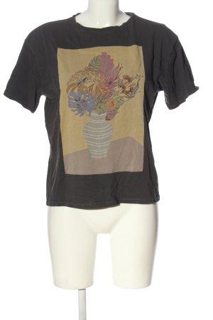 Zara T-Shirt schwarz-wollweiß Schriftzug gedruckt Casual-Look