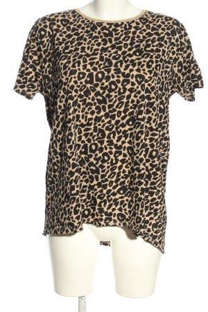Zara T-Shirt schwarz-wollweiß Leomuster Casual-Look