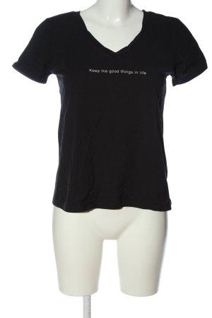 Zara T-Shirt schwarz-weiß Schriftzug gedruckt Casual-Look