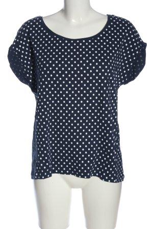 Zara T-Shirt blau-weiß Punktemuster Casual-Look