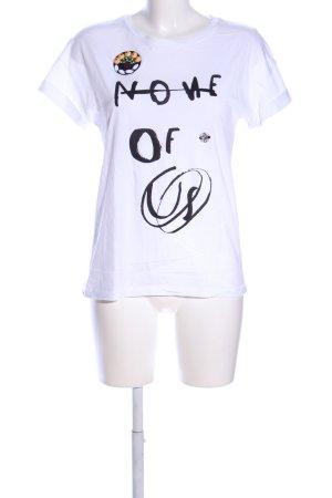 Zara T-Shirt weiß-schwarz Casual-Look