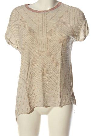 Zara T-shirt w kolorze białej wełny-brązowy Graficzny wzór W stylu casual