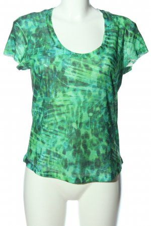 Zara T-Shirt grün abstraktes Muster Casual-Look