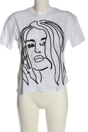 Zara T-Shirt weiß-schwarz abstraktes Muster Casual-Look