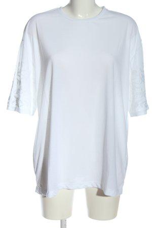 Zara T-Shirt weiß Schriftzug gestickt Casual-Look