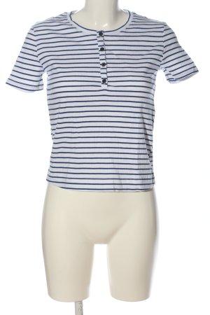 Zara T-Shirt weiß-blau Streifenmuster Casual-Look