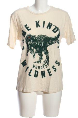 Zara T-Shirt creme-khaki Motivdruck Casual-Look