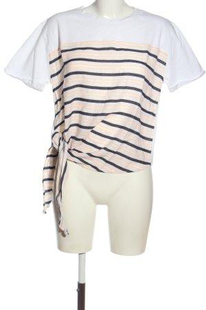 Zara T-Shirt weiß-schwarz Streifenmuster Casual-Look