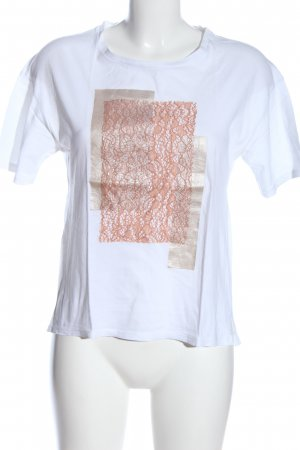 Zara T-Shirt weiß-pink Casual-Look