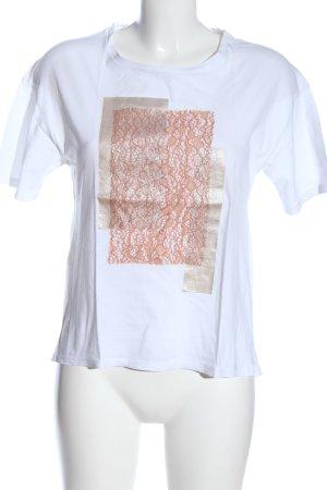 Zara T-Shirt weiß-pink Casual-Look