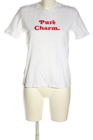 Zara T-Shirt weiß-rot Schriftzug gedruckt Casual-Look