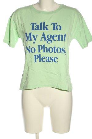 Zara T-Shirt grün-blau Schriftzug gedruckt Casual-Look