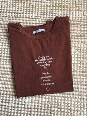 Zara T-shirt brązowo-czerwony-biały