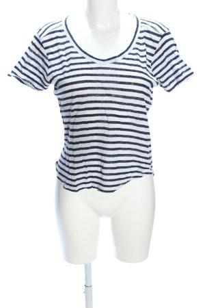 Zara T-Shirt blau-weiß Streifenmuster Casual-Look