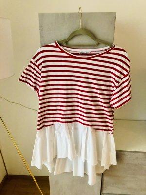 ZARA T-Shirt Bluse M rot weiß gestreift
