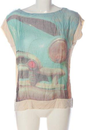 Zara T-Shirt nude-türkis Motivdruck Casual-Look