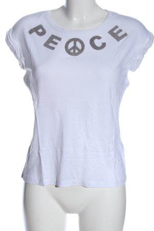 Zara T-Shirt weiß-silberfarben Schriftzug gedruckt Casual-Look