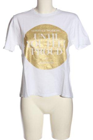 Zara T-Shirt weiß-goldfarben Schriftzug gedruckt Casual-Look