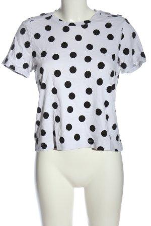 Zara T-Shirt weiß-schwarz Punktemuster Casual-Look